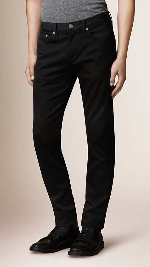 Black Straight Fit Yarn Dyed Jeans - Image 1