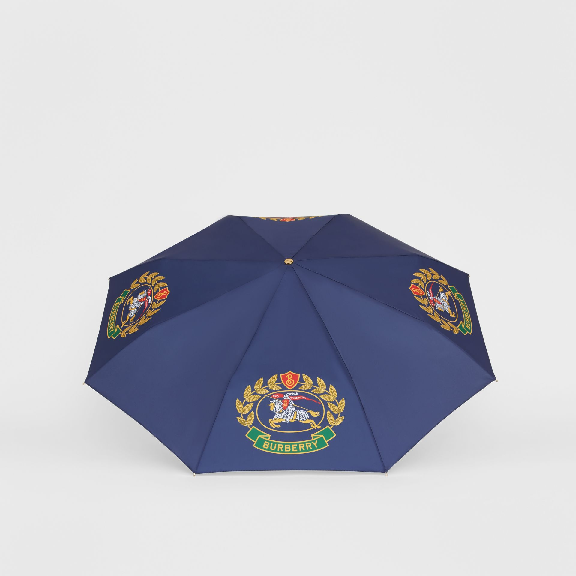 Crest Print Folding Umbrella in Navy | Burberry United Kingdom - gallery image 2