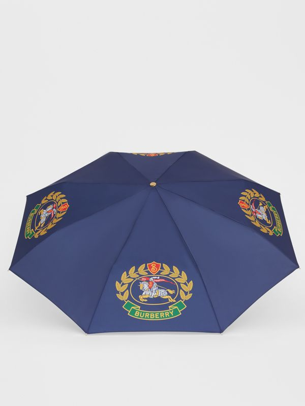 Crest Print Folding Umbrella in Navy | Burberry - cell image 2