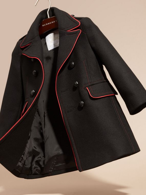 Black Technical Wool Cashmere Military Coat - cell image 2