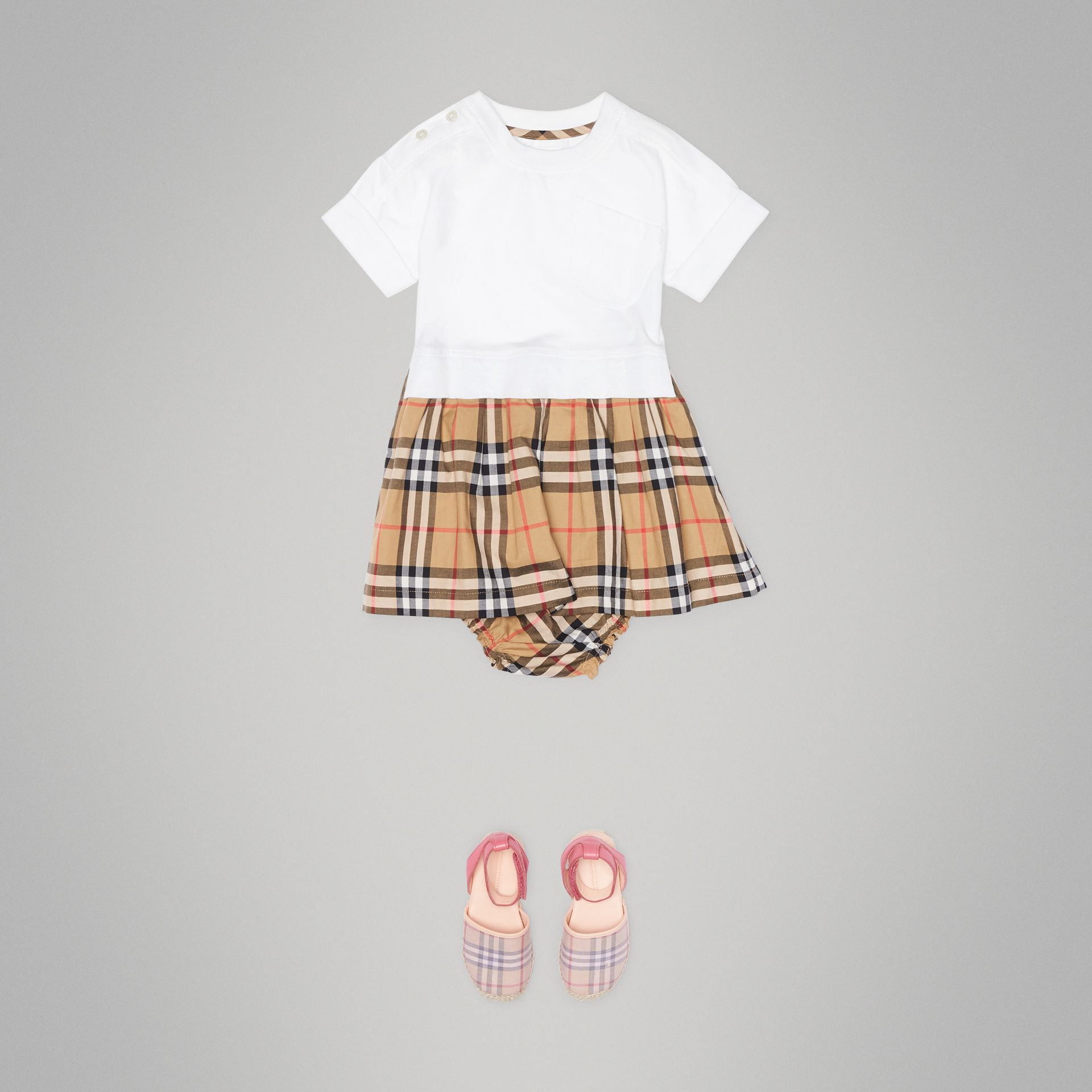 Vintage Check Cotton Dress with Bloomers in White - Children   Burberry United States - gallery image 2