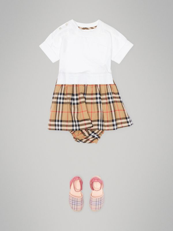 Vintage Check Cotton Dress with Bloomers in White - Children   Burberry United States - cell image 2