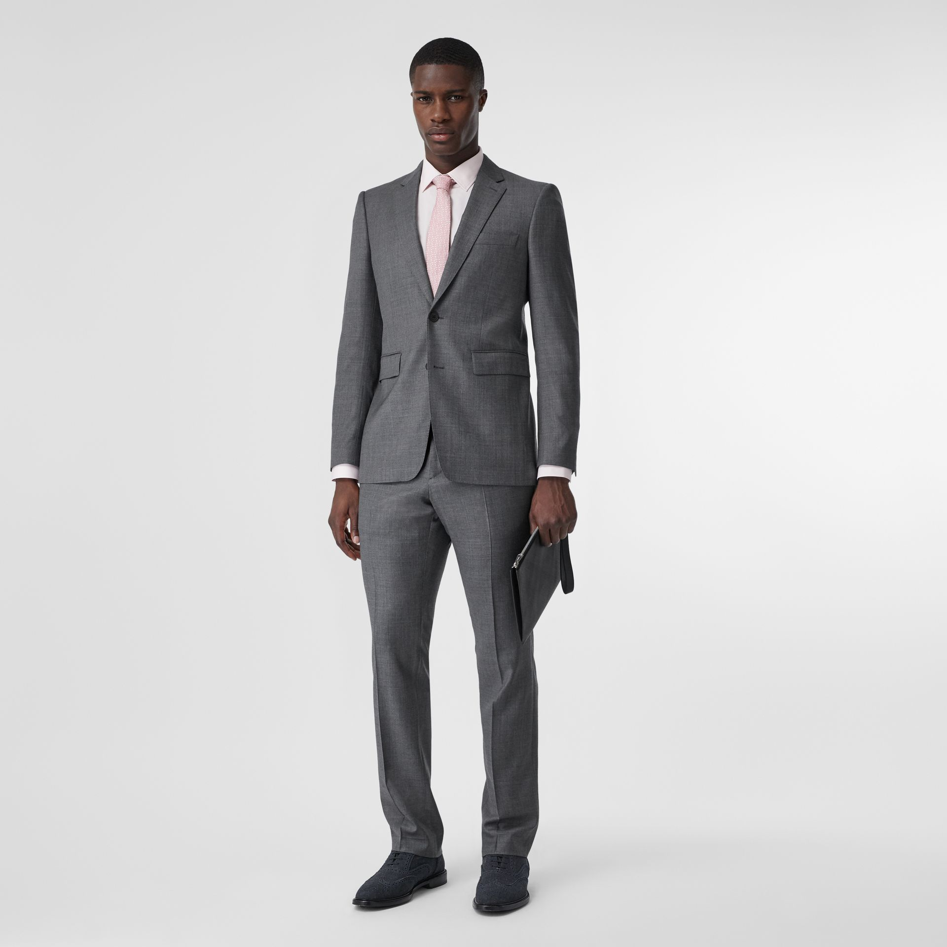 Classic Fit Sharkskin Wool Suit in Mid Grey Melange - Men | Burberry Hong Kong S.A.R - gallery image 0