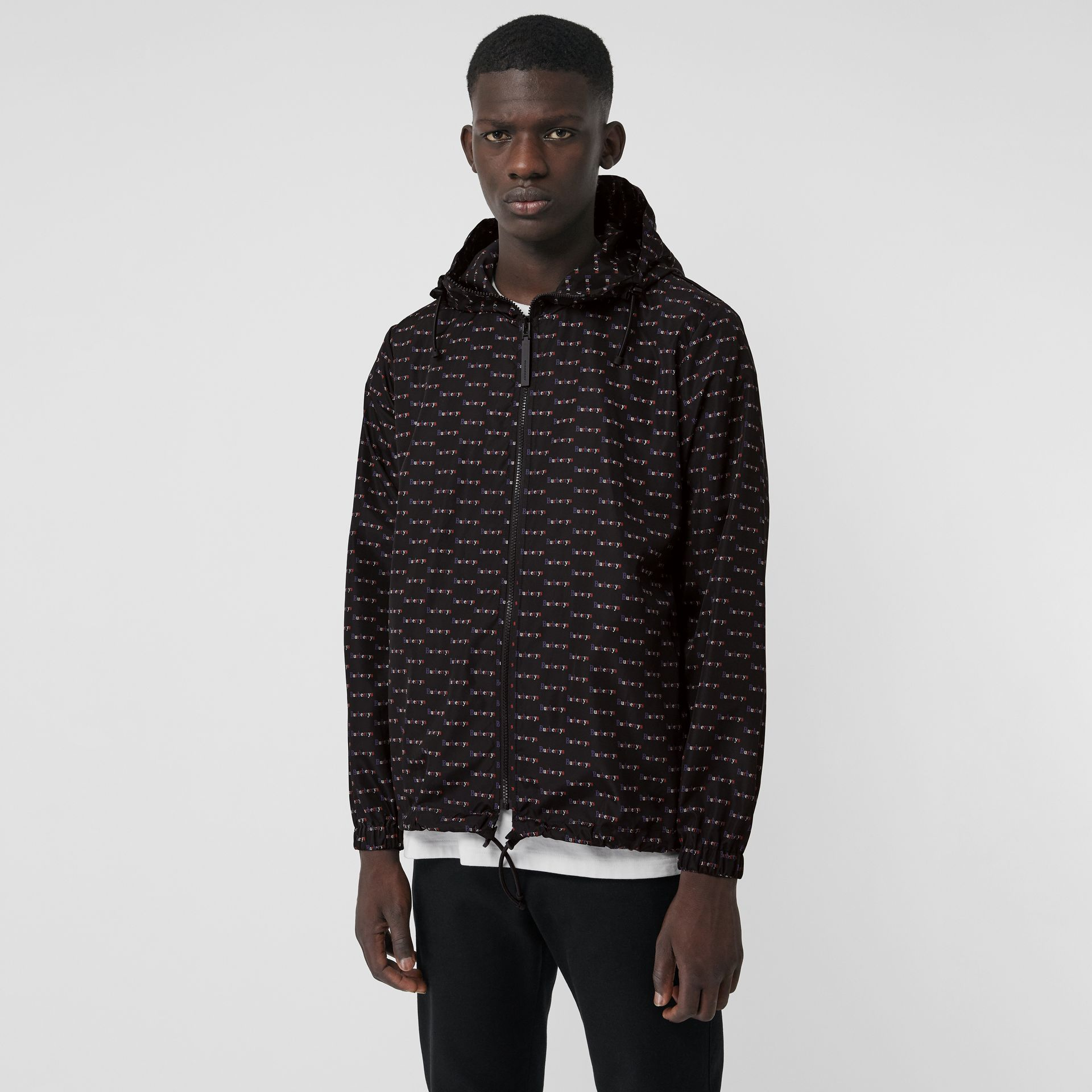 Archive Logo Print Lightweight Hooded Jacket in Black - Men | Burberry United Kingdom - gallery image 5