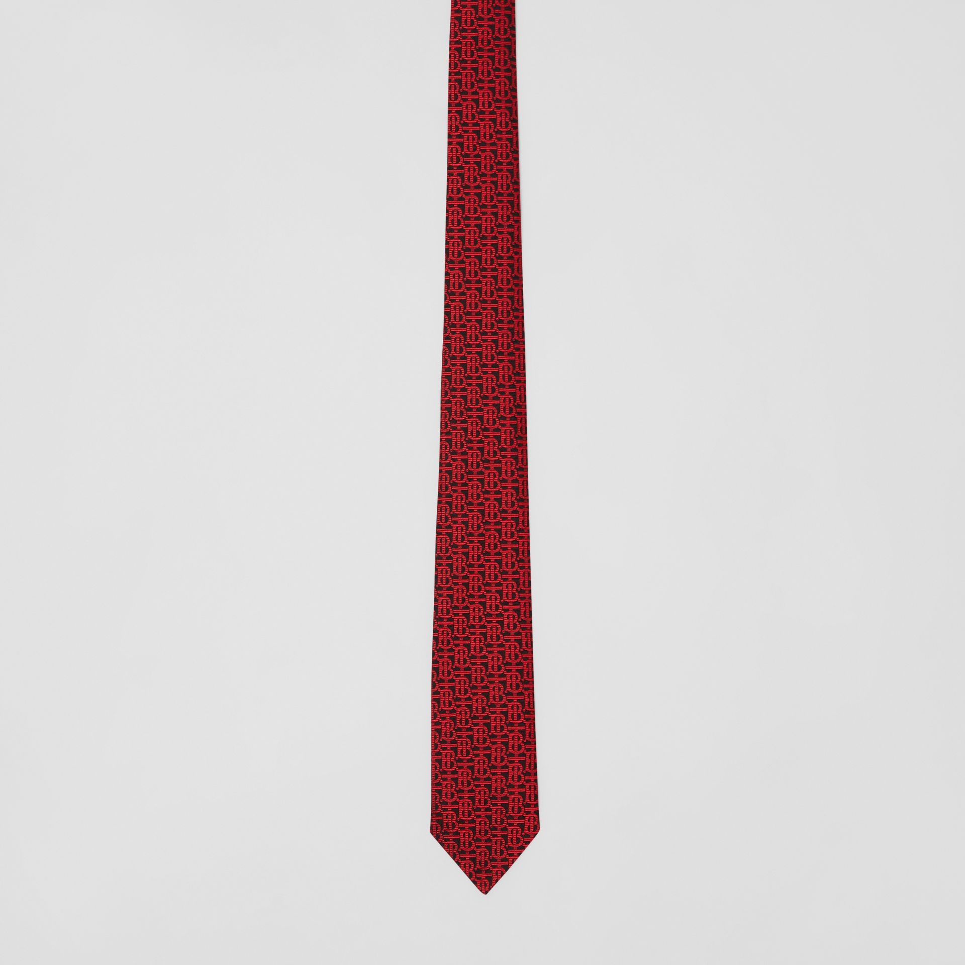 Classic Cut Monogram Silk Jacquard Tie in Bright Red - Men | Burberry - gallery image 3