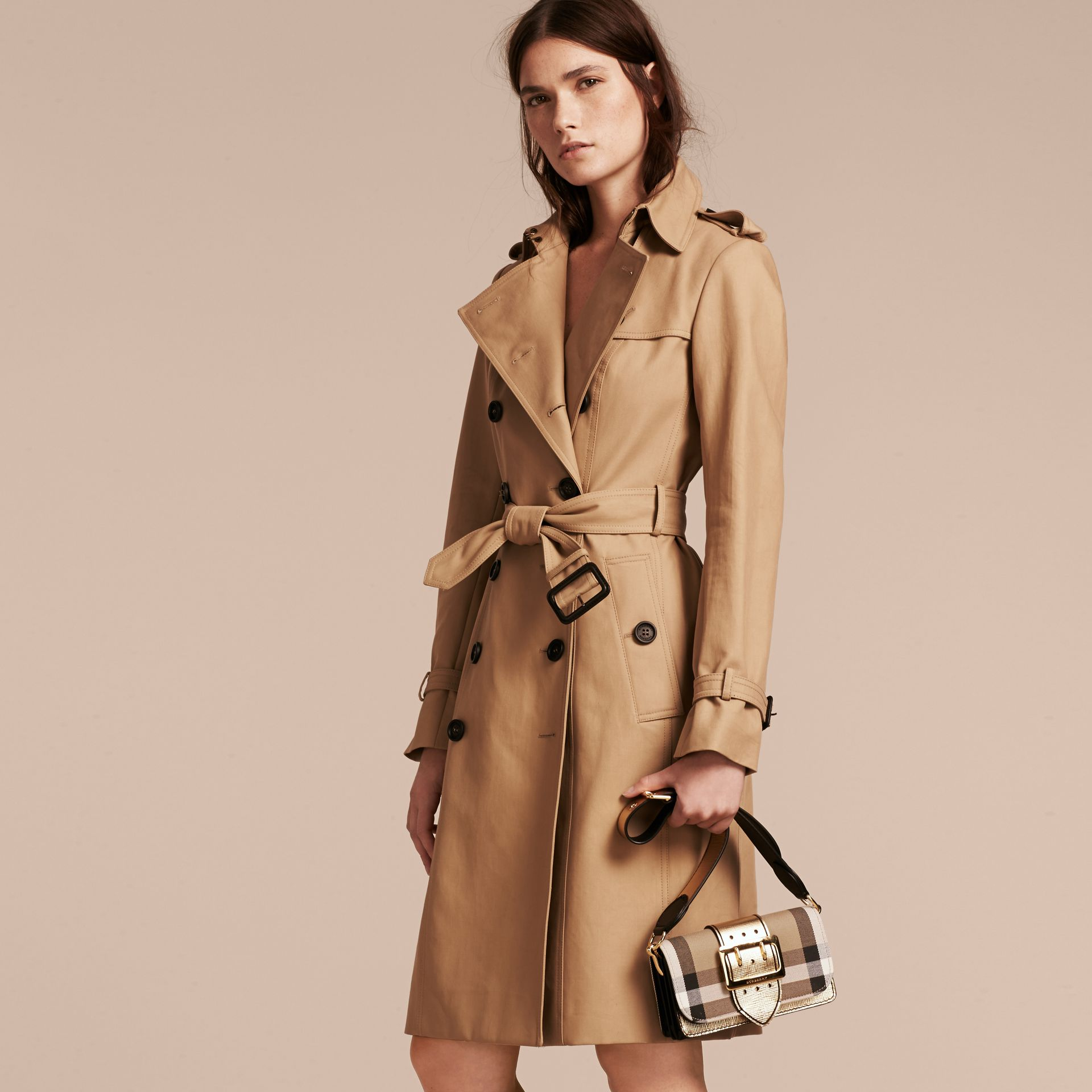 The Small Buckle Bag in House Check and Leather in Gold - Women | Burberry United Kingdom - gallery image 7