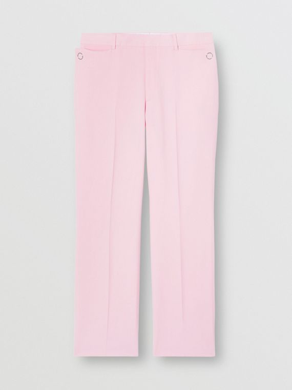 Tumbled Wool Wide-leg Tailored Trousers in Candy Pink