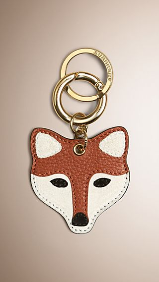 Fox Key Charm in Leather and Suede