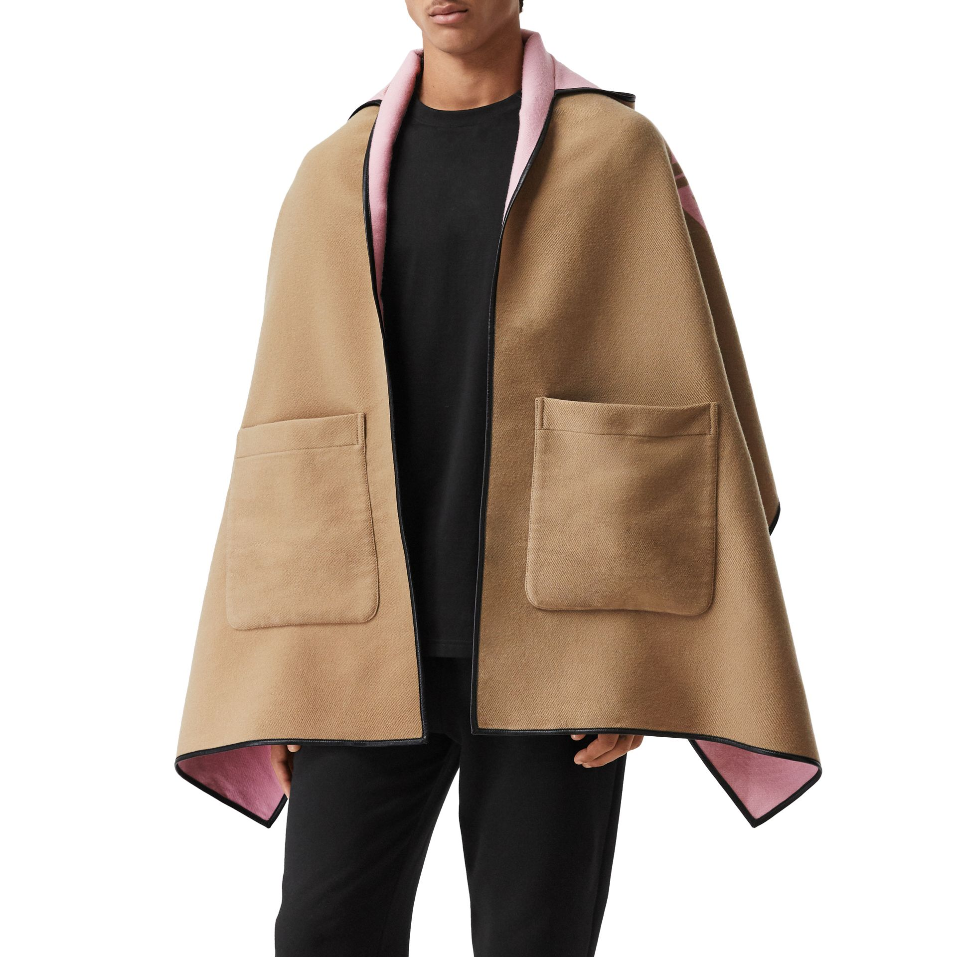 Logo Graphic Wool Cotton Jacquard Hooded Cape in Archive Beige | Burberry - gallery image 4