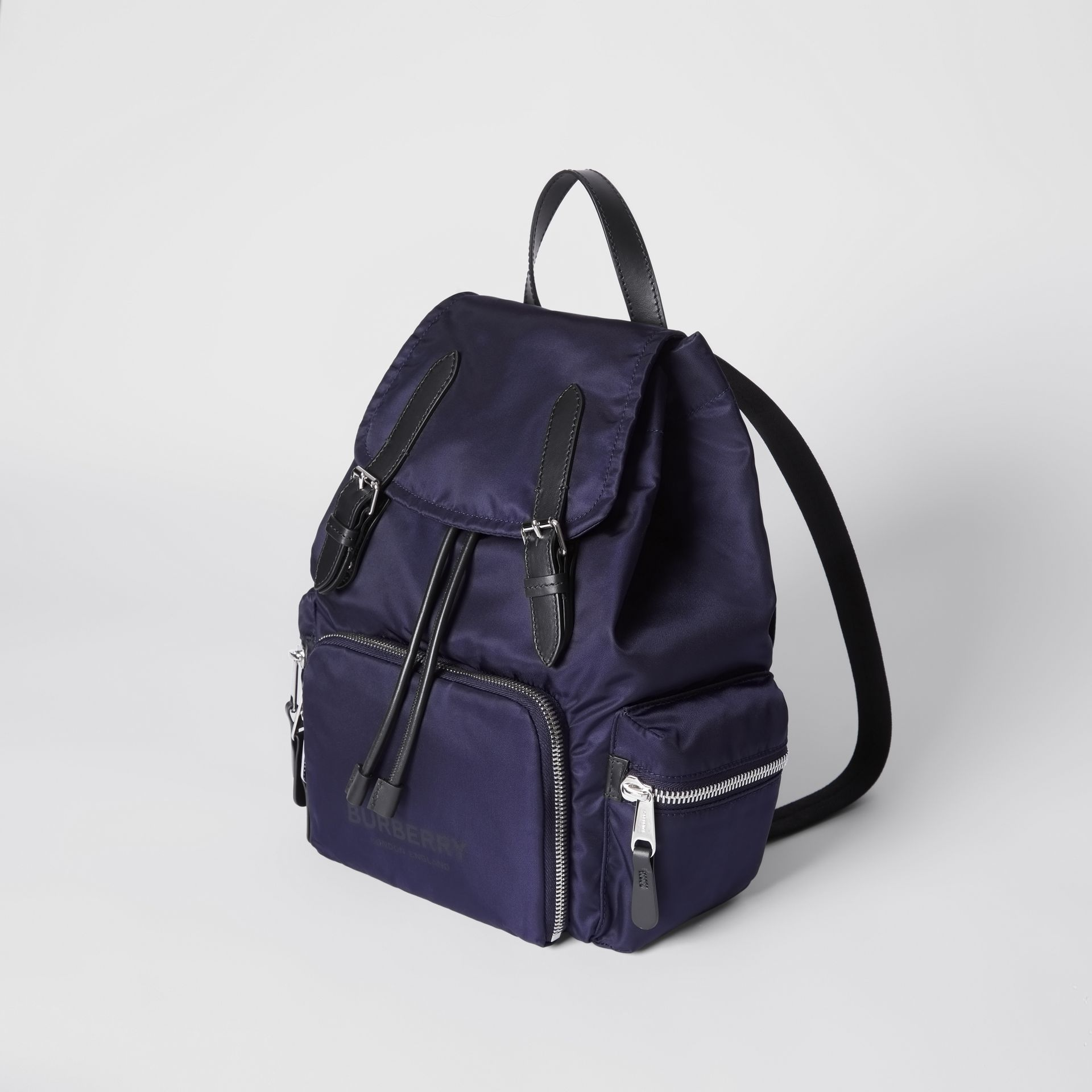 The Medium Rucksack in Logo Print ECONYL® in Navy - Women | Burberry Canada - gallery image 3