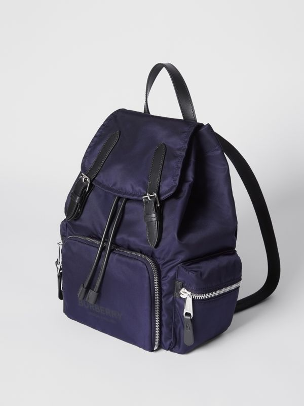 The Medium Rucksack in Logo Print ECONYL® in Navy - Women | Burberry Canada - cell image 3