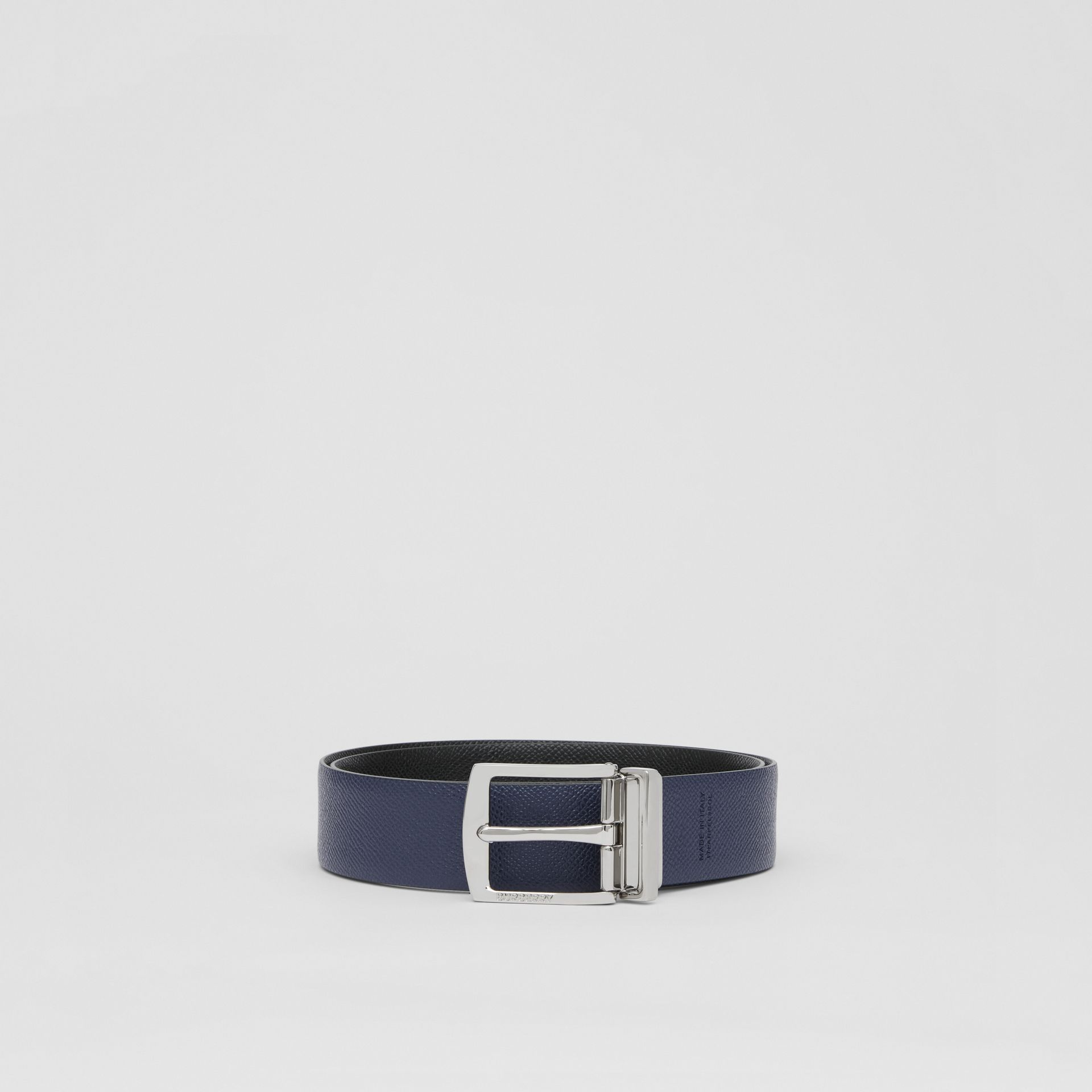 Reversible Grainy Leather Belt in Black/navy - Men | Burberry - gallery image 5