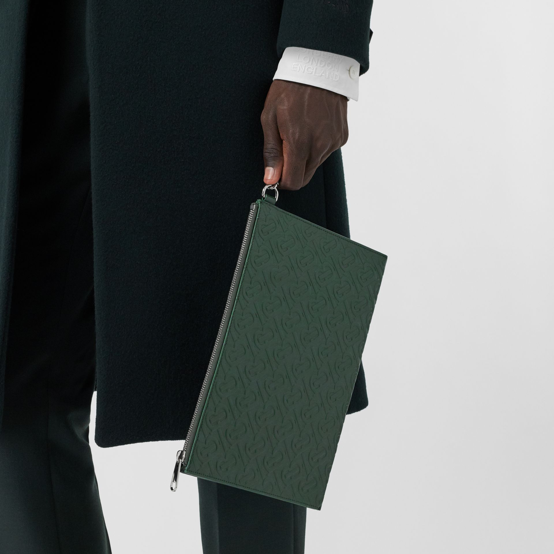Monogram Leather Zip Pouch in Dark Pine Green - Men | Burberry Hong Kong S.A.R - gallery image 2