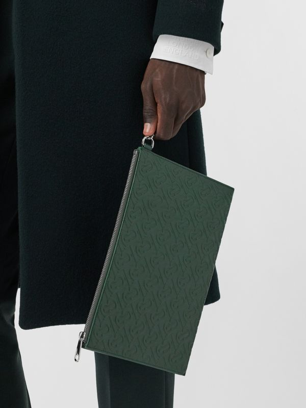 Monogram Leather Zip Pouch in Dark Pine Green - Men | Burberry Hong Kong S.A.R - cell image 2