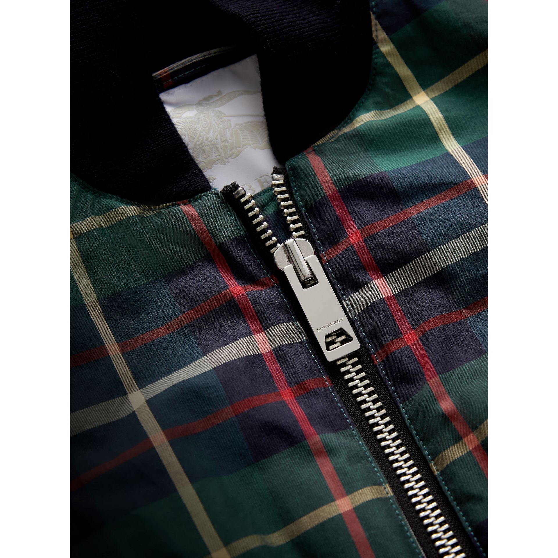 Tartan Cotton Bomber Jacket in Racing Green | Burberry - gallery image 1