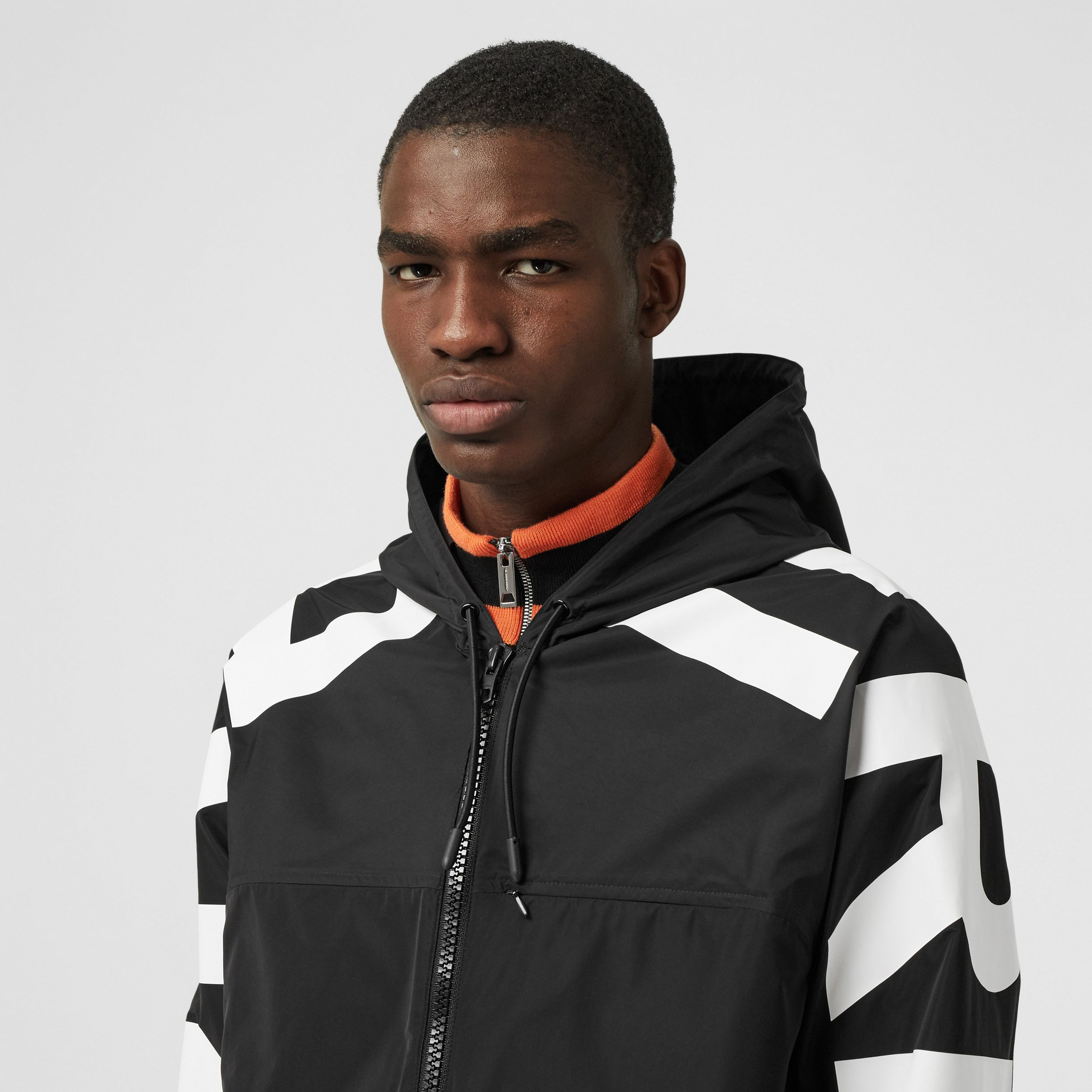 Logo Print Shape-memory Taffeta Hooded Jacket in Black - Men | Burberry - 2