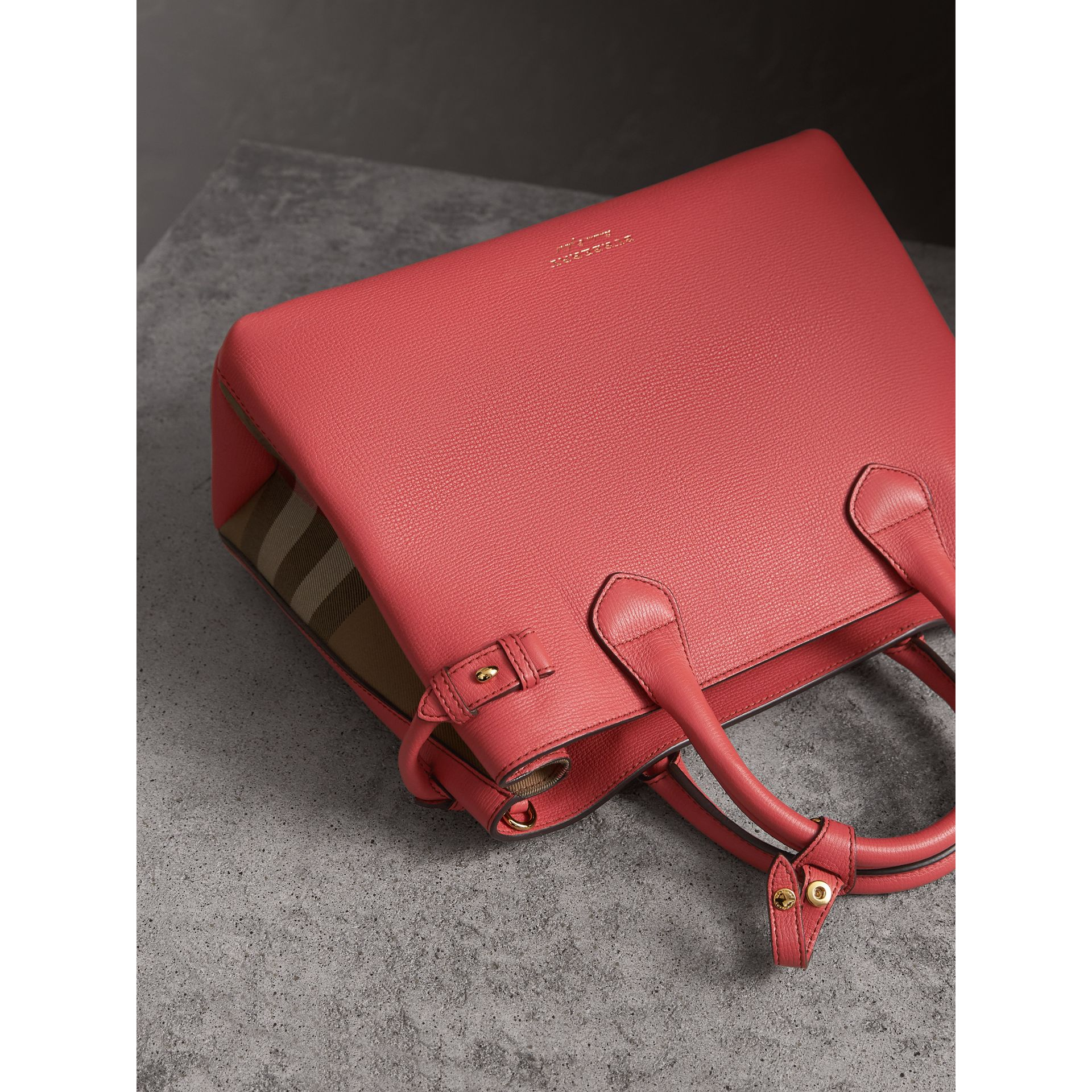 The Medium Banner in Leather and House Check in Cinnamon Red - Women | Burberry Singapore - gallery image 7