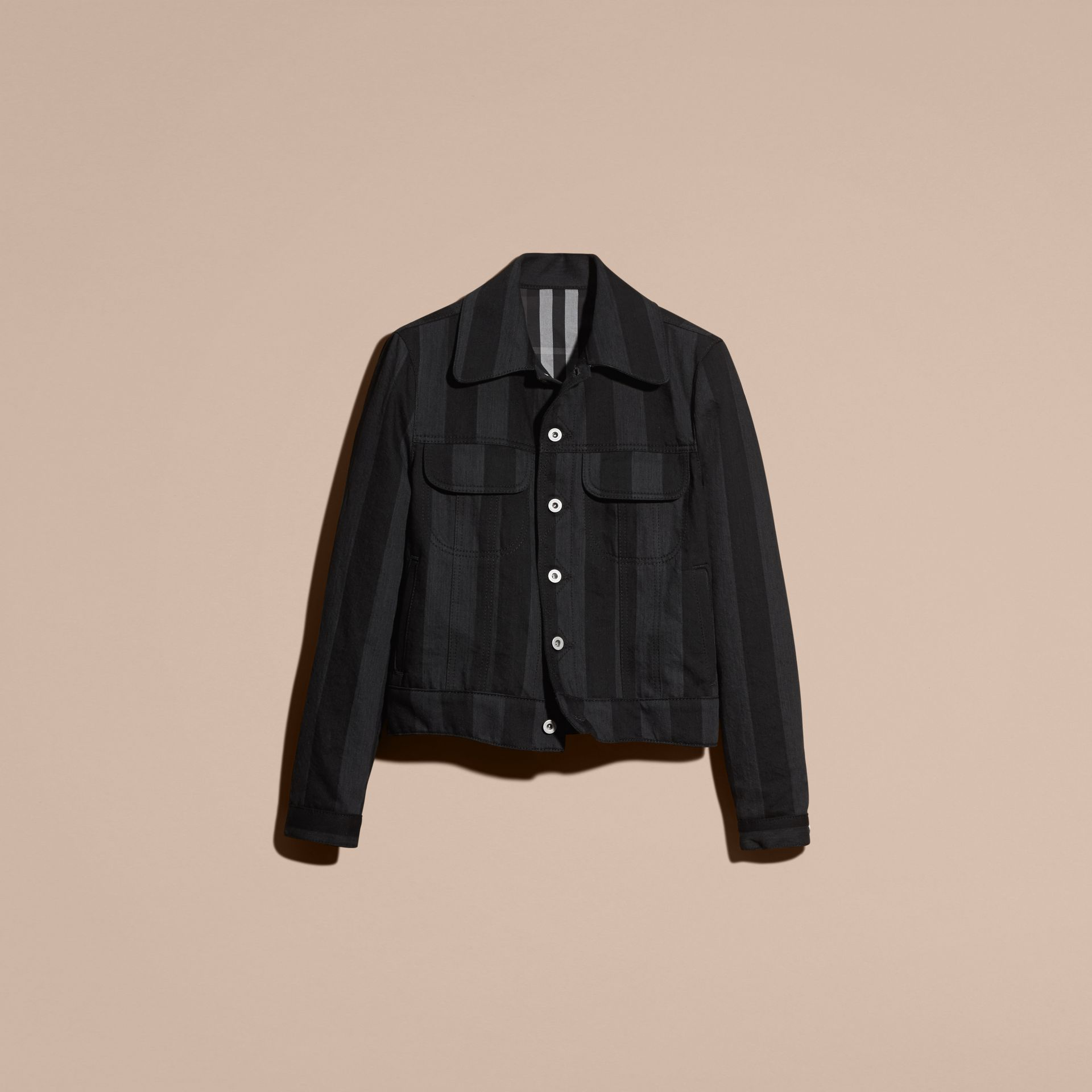 Black Striped Raw Denim Jacket - gallery image 4