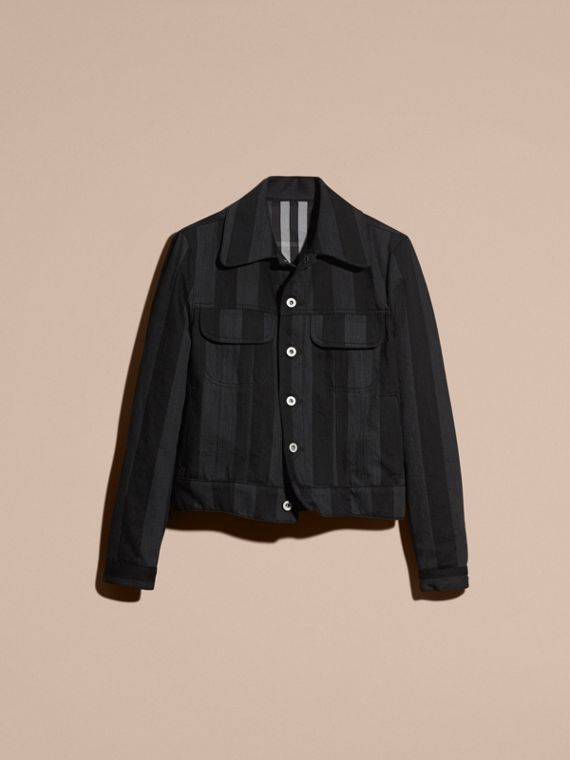 Black Striped Raw Denim Jacket - cell image 3