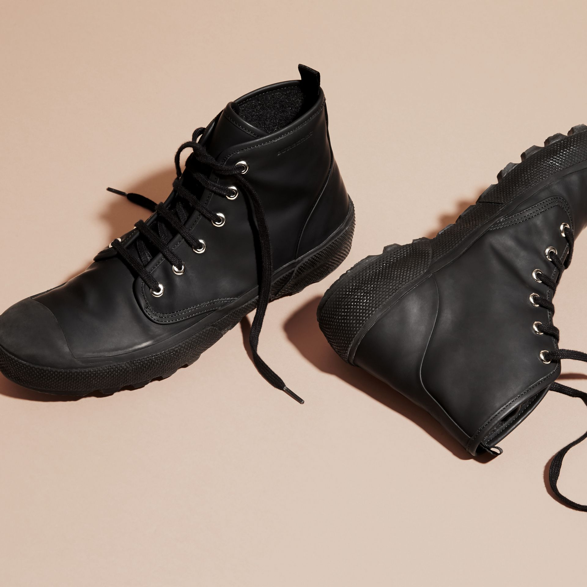 Black Lace-up Rubberised Leather Boots - gallery image 5