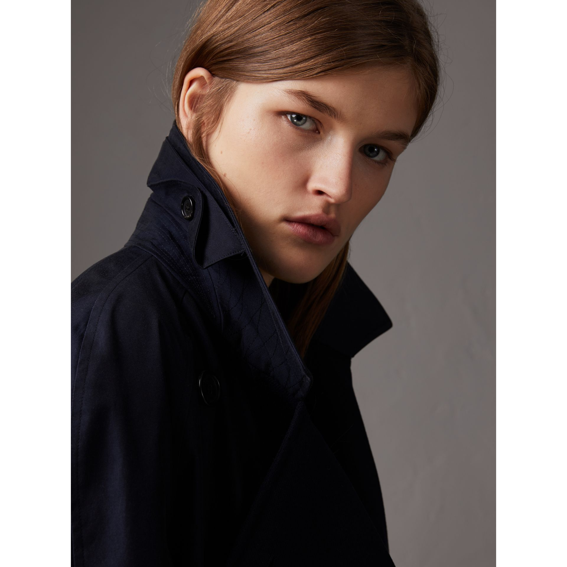 Tropical Gabardine Asymmetric Trench Coat in Blue Carbon - Women | Burberry United Kingdom - gallery image 1