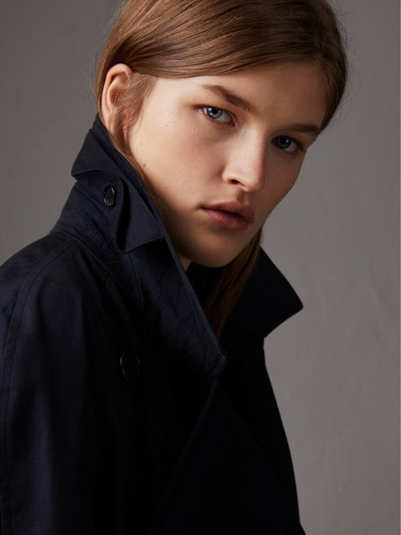 Tropical Gabardine Asymmetric Trench Coat in Blue Carbon - Women | Burberry - cell image 1