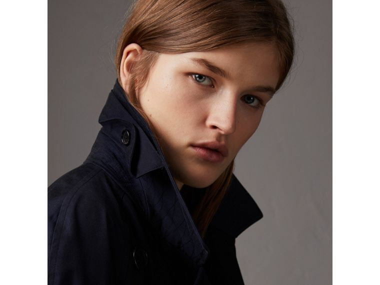 Tropical Gabardine Asymmetric Trench Coat in Blue Carbon - Women | Burberry United Kingdom - cell image 1