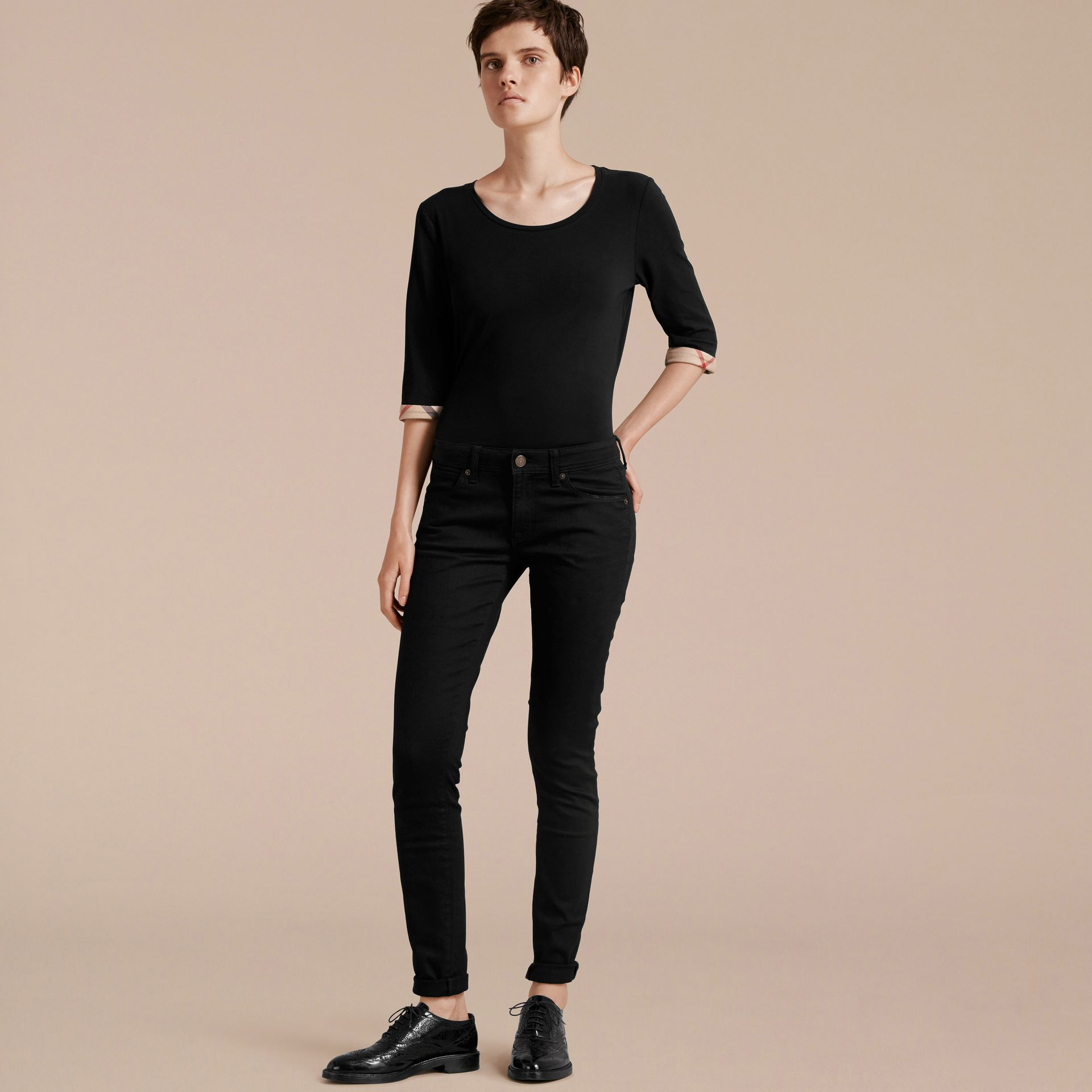 Check Cuff Stretch-Cotton Top in Black - gallery image 6