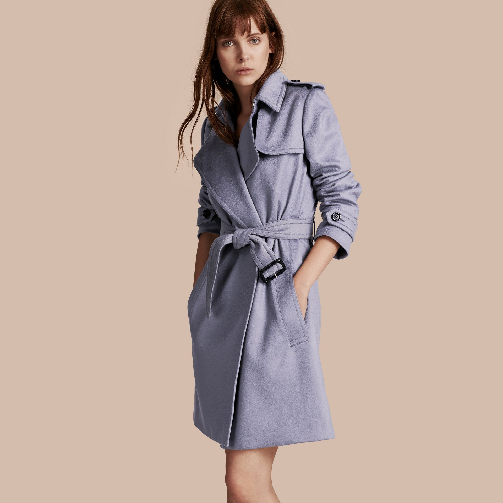 Cashmere Wrap Trench Coat in Dusty Blue - gallery image 1