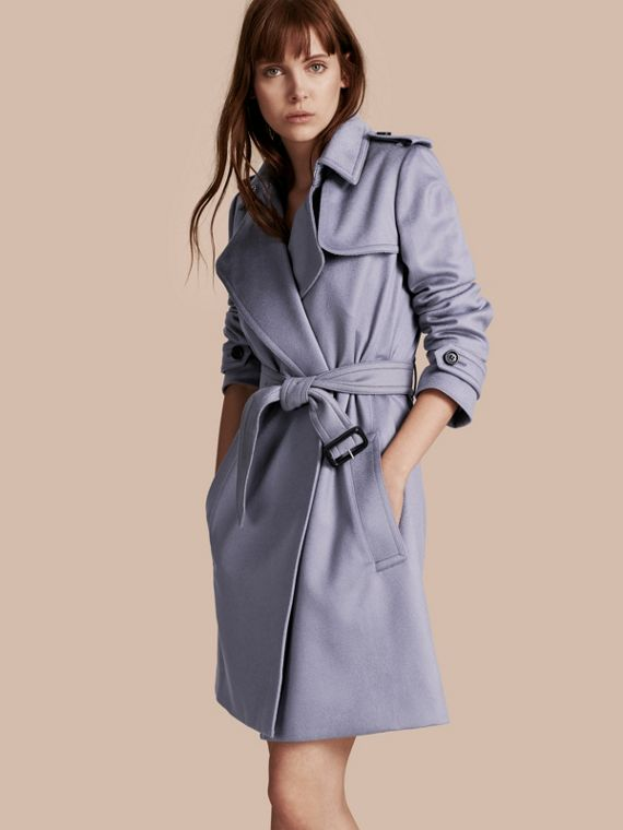 Trench coat a scialle in cashmere