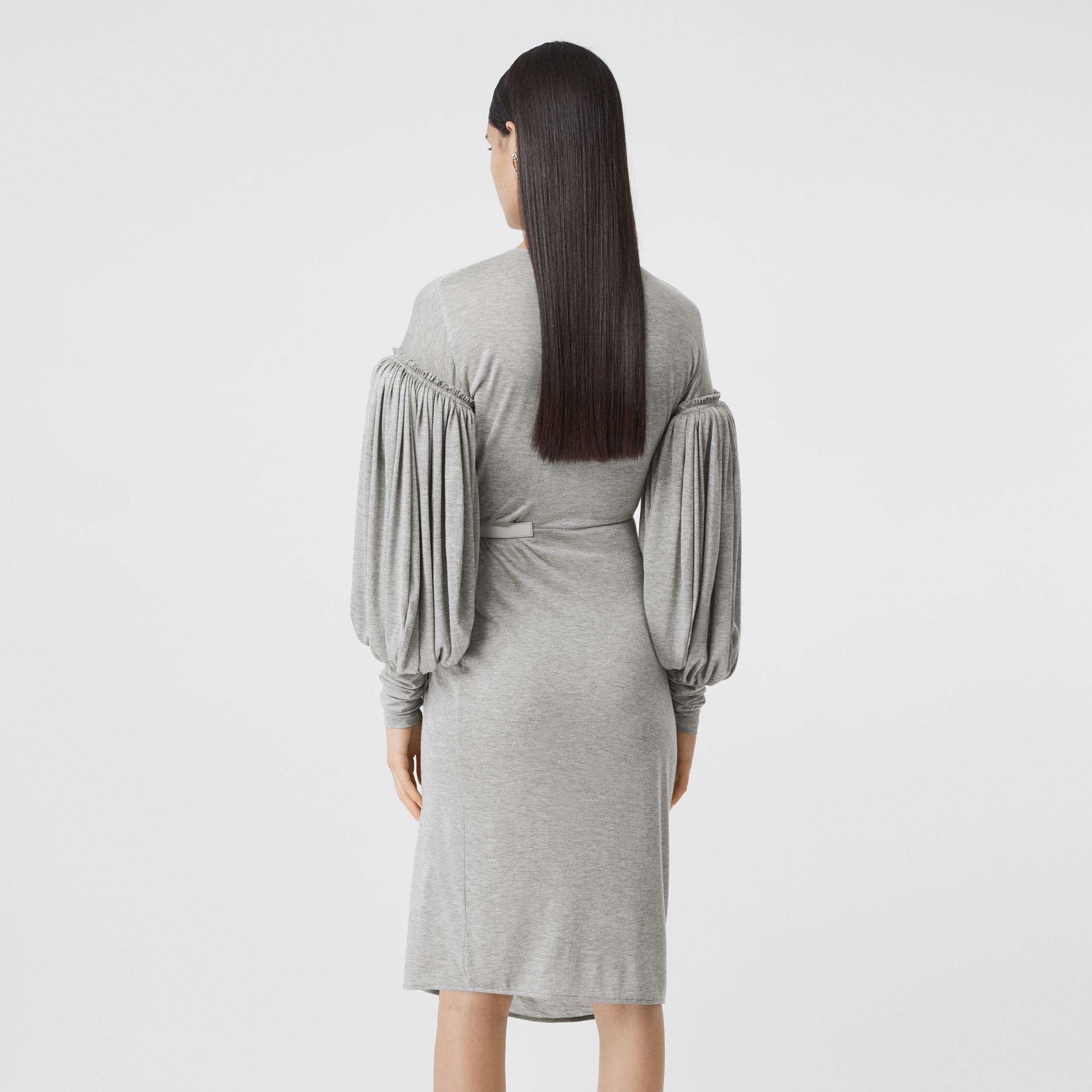 Puff-sleeve Jersey Wrap Dress in Pewter Melange - Women | Burberry - 3