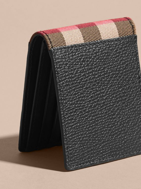 Grainy Leather and House Check Bifold Wallet in Black | Burberry - cell image 2