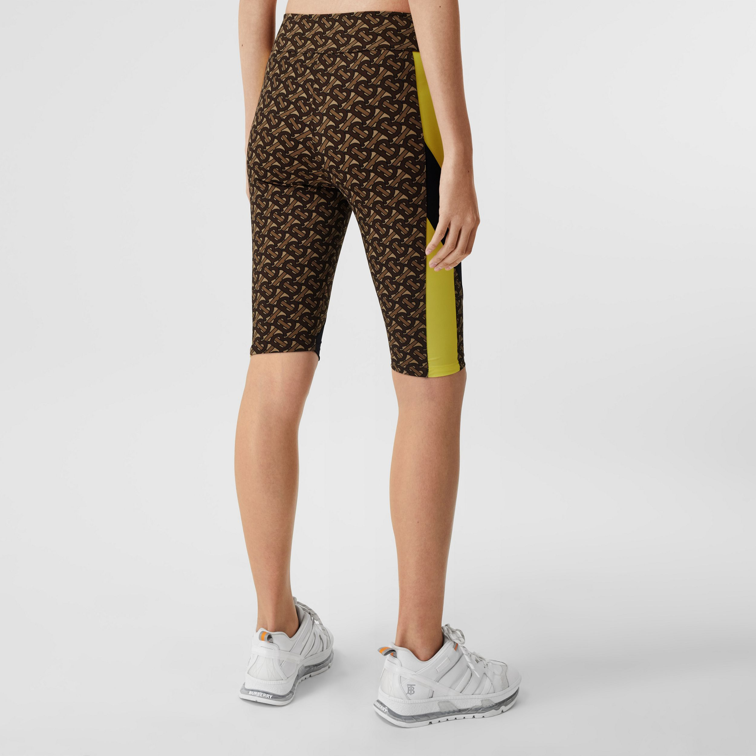 Colour Block Monogram Print Cycling Shorts in Bridle Brown - Women | Burberry - 3