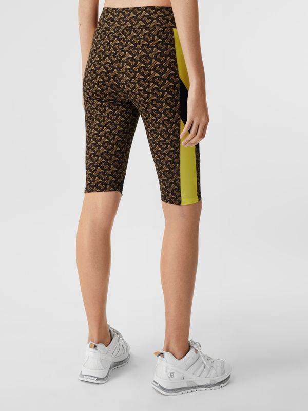 Colour Block Monogram Print Cycling Shorts in Bridle Brown - Women   Burberry United Kingdom - cell image 2