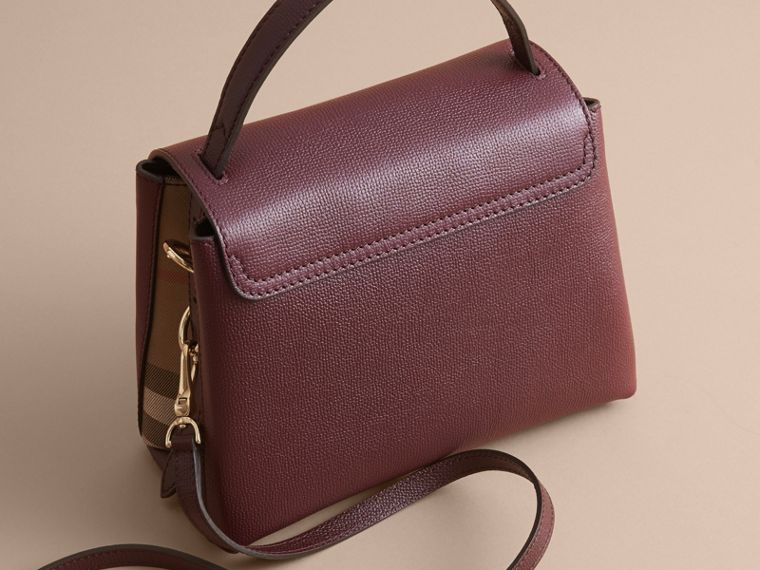 Small Grainy Leather and House Check Tote Bag in Mahogany Red - Women | Burberry - cell image 4