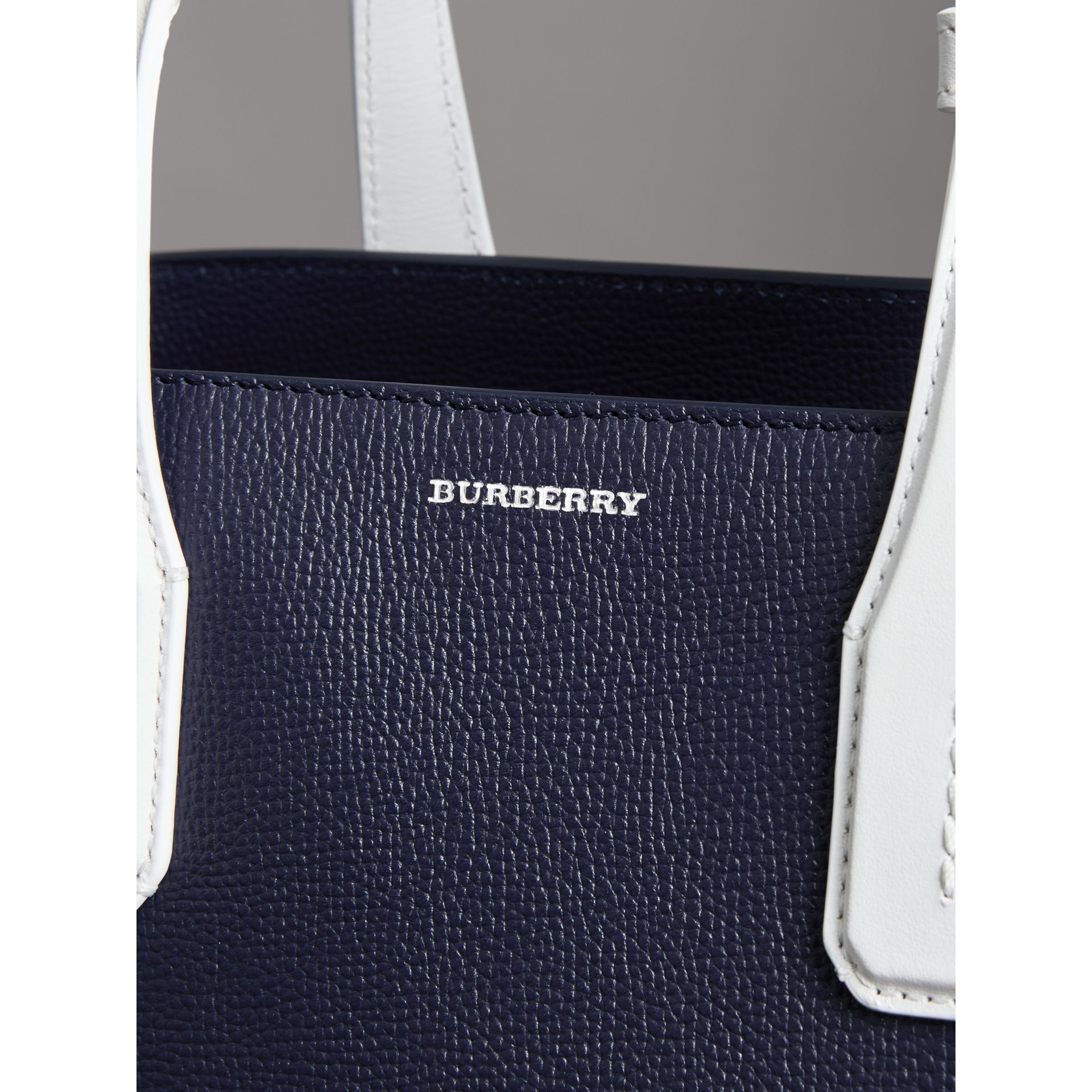 The Medium Banner in Two-tone Leather in Regency Blue/chalk White - Women | Burberry Australia - gallery image 1