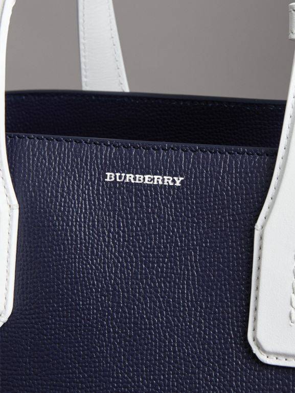 The Medium Banner in Two-tone Leather in Regency Blue/chalk White - Women | Burberry United States - cell image 1