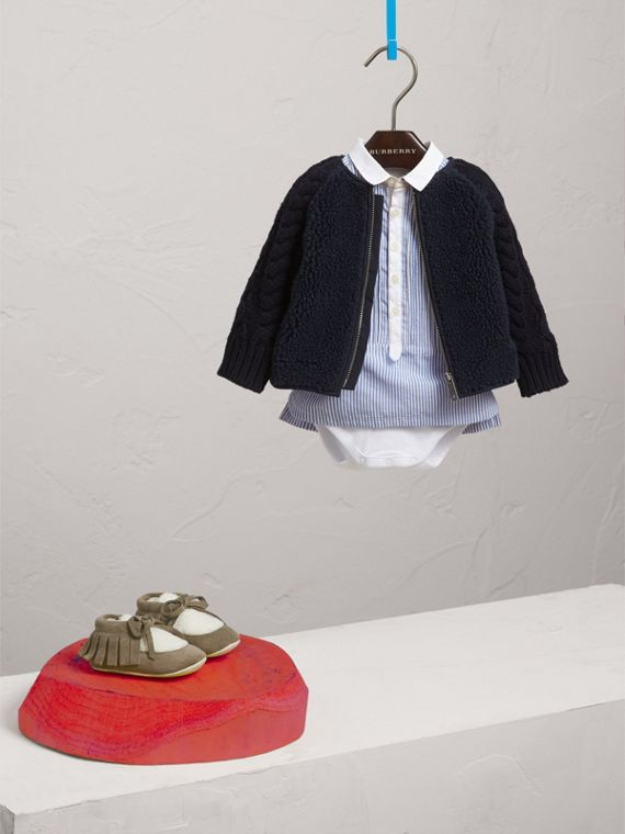 Cable Knit Wool Cashmere and Faux Shearling Jacket in Navy