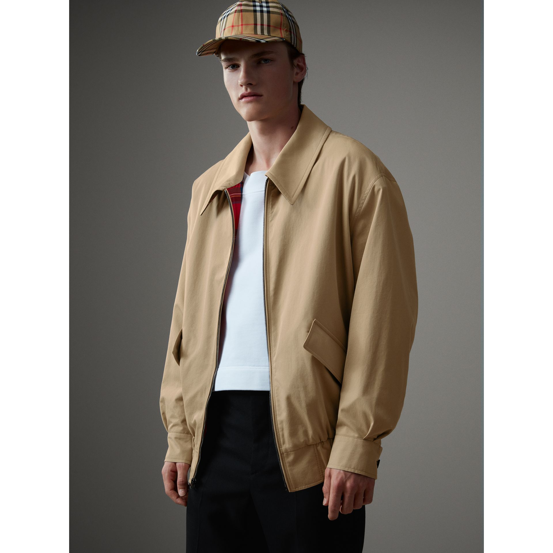 Tropical Gabardine Harrington Jacket in Honey - Men | Burberry United Kingdom - gallery image 5