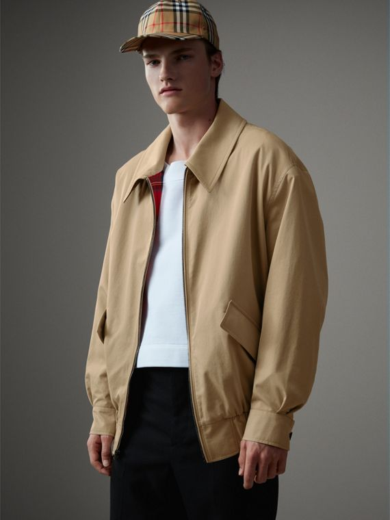 Giacca Harrington in gabardine tropicale (Miele)