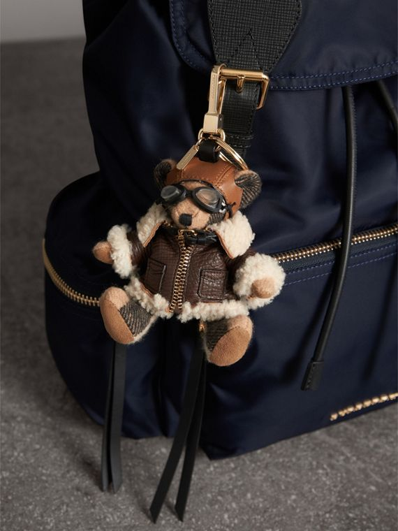 Thomas Bear Charm in Shearling Aviator Jacket in Camel - Women | Burberry Canada - cell image 2
