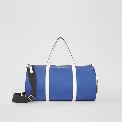 Large Colour Block Vintage Check Barrel Bag in Blue