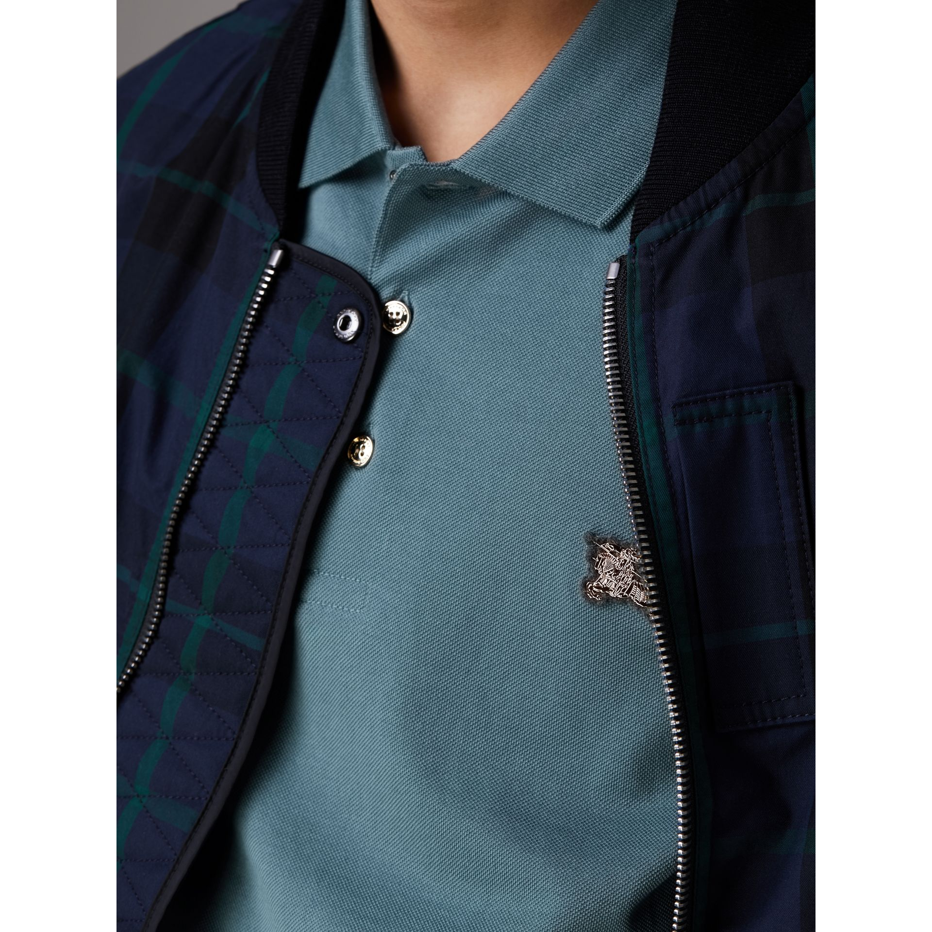 Cotton Piqué Polo Shirt in Pewter Blue - Men | Burberry - gallery image 1