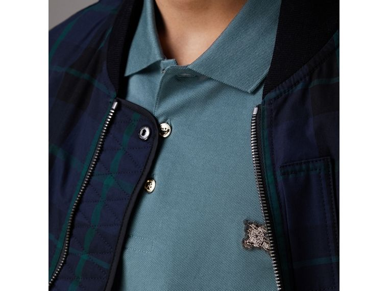 Cotton Piqué Polo Shirt in Pewter Blue - Men | Burberry - cell image 1