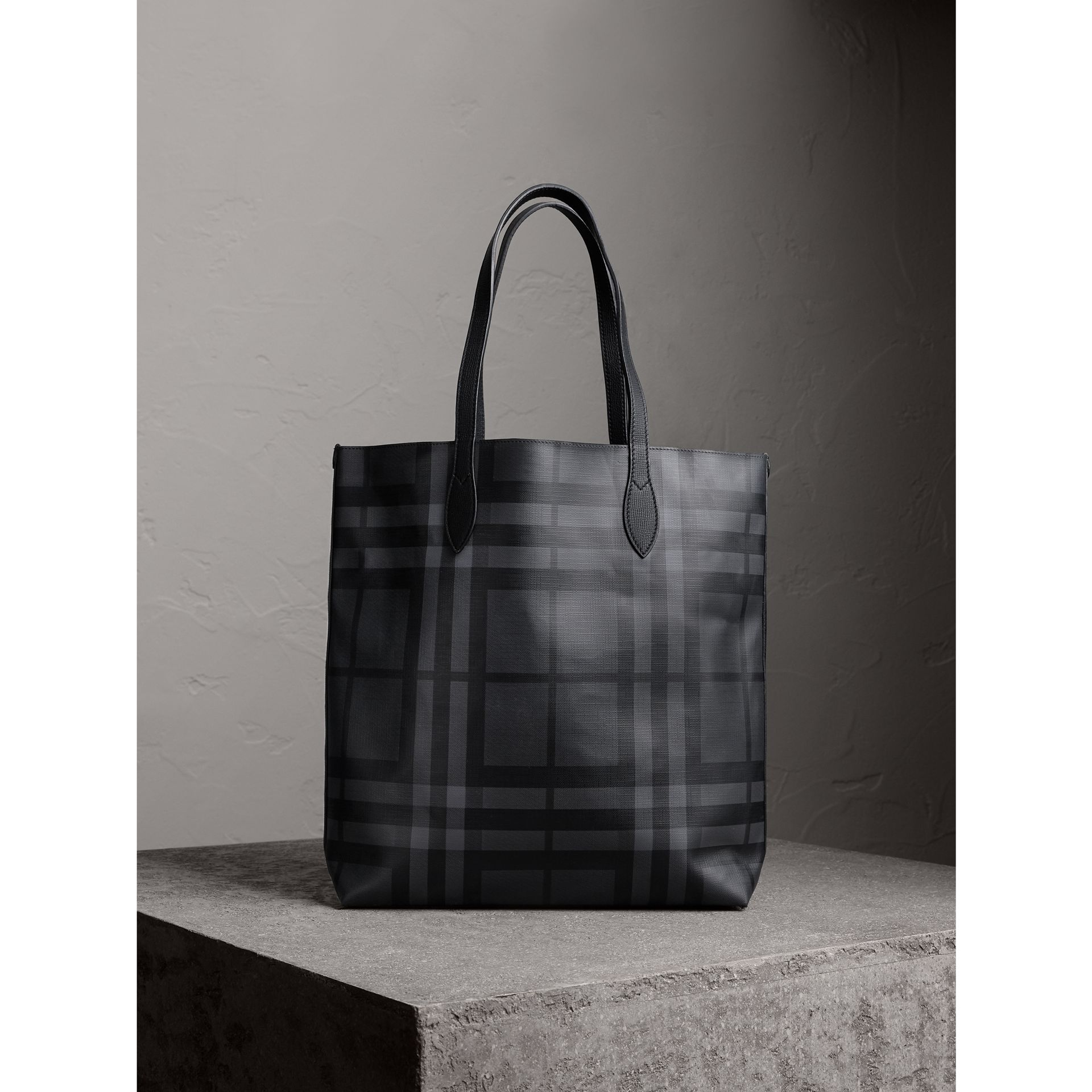 Medium London Check and Leather Tote in Charcoal/black - Men | Burberry - gallery image 1