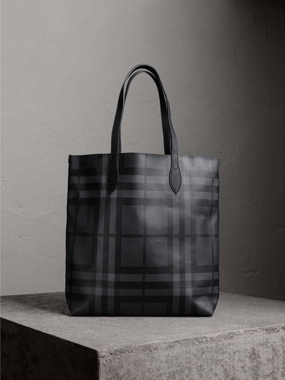 Medium London Check and Leather Tote in Charcoal/black