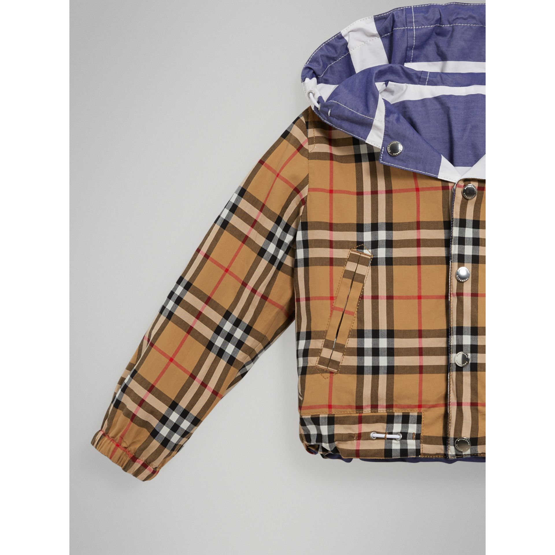 Reversible Stripe and Vintage Check Cotton Jacket in Navy/white | Burberry Australia - gallery image 5
