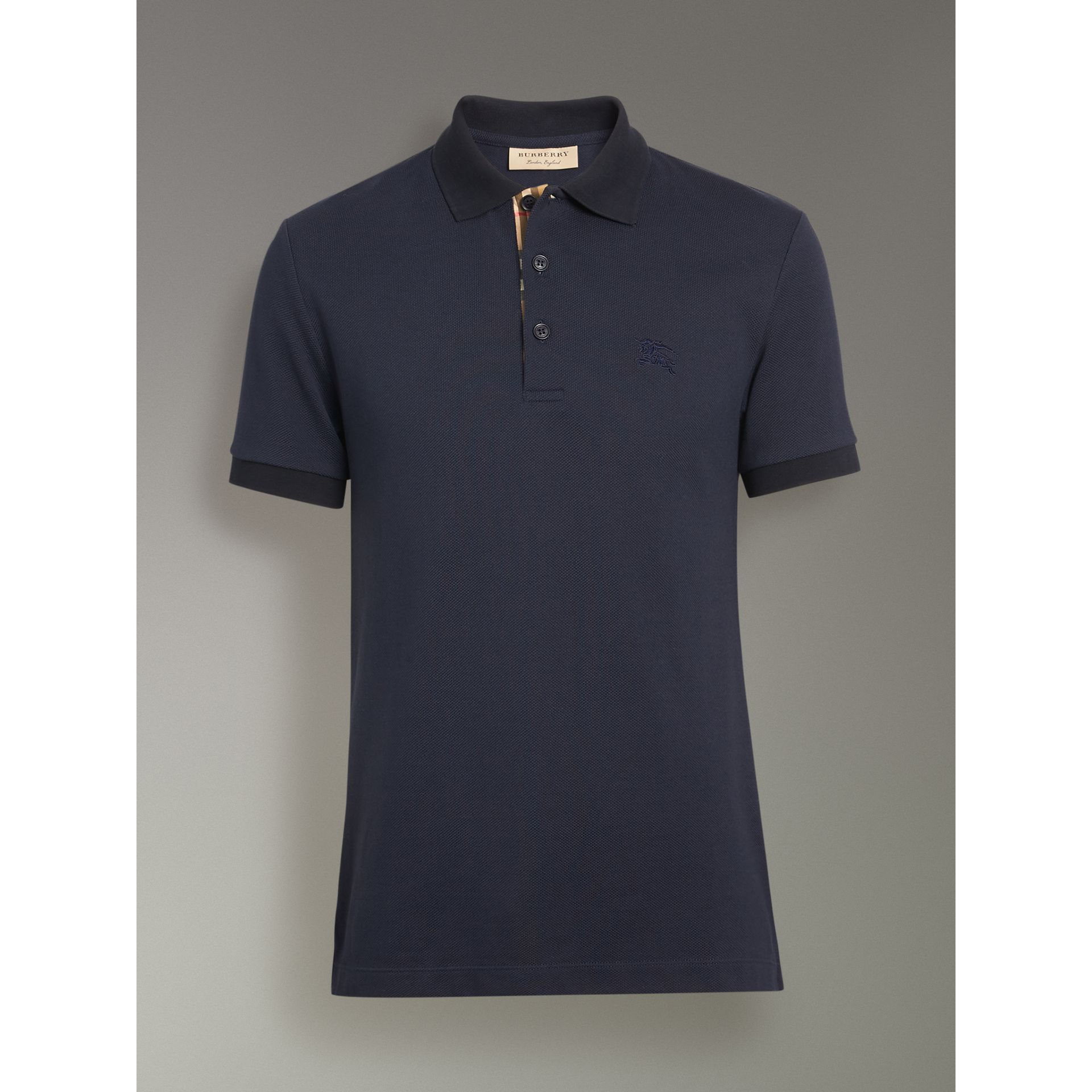 Contrast Collar Cotton Polo Shirt in Navy - Men | Burberry Singapore - gallery image 3