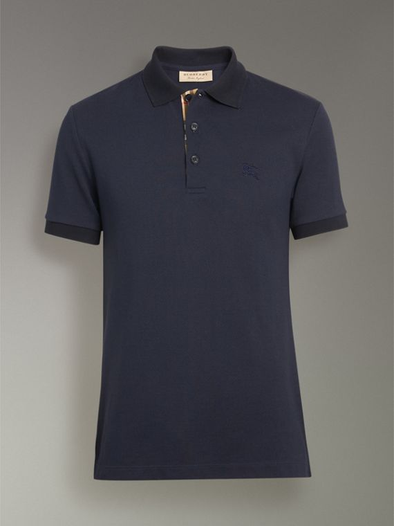 Contrast Collar Cotton Polo Shirt in Navy - Men | Burberry Singapore - cell image 3