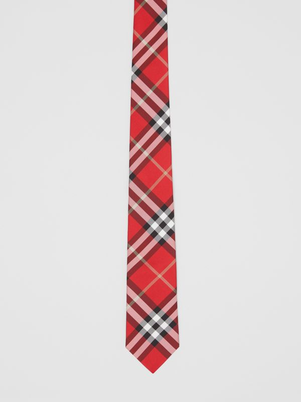 Classic Cut Vintage Check Silk Tie in Red - Men | Burberry United Kingdom - cell image 3